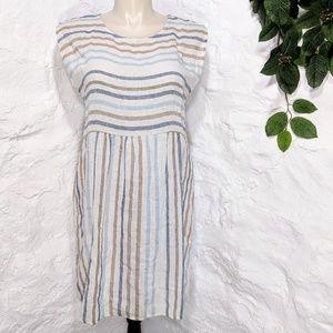 e974a0f29ed Blue Orchid 100% linen italian made striped dress